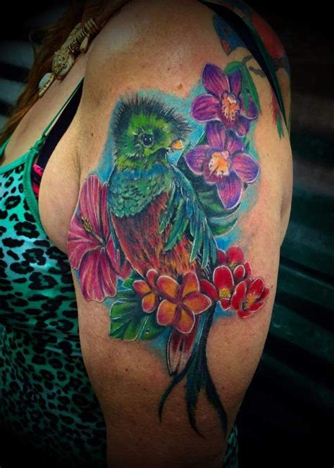 my latest shoulder piece quetzal bird amp butterfly