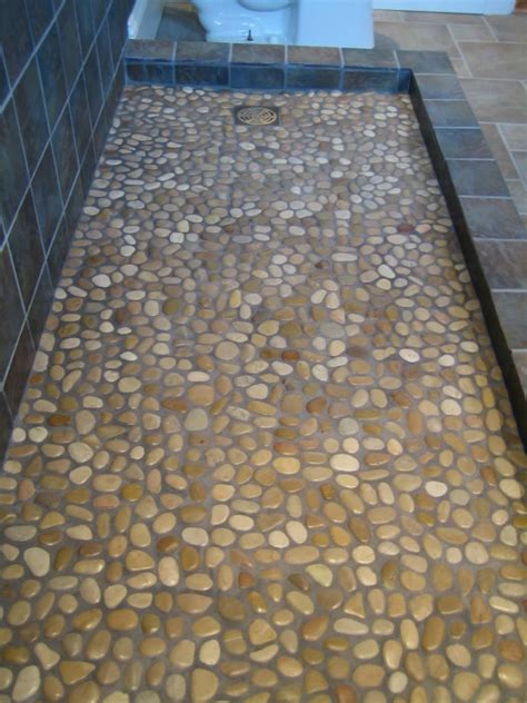 Bathroom Mosaic Floor Tile by Gray Rock River Mosaic Shower Floor Tile For Artless