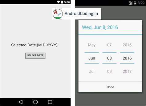 android date picker android tutorial on date picker