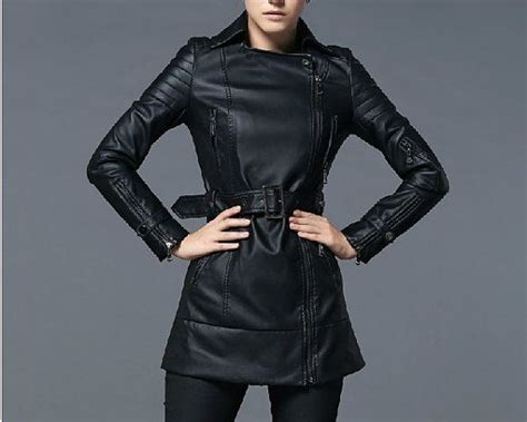 Trench Jacket Black Korean Style fashion black pu leather jacket tunic trench coat