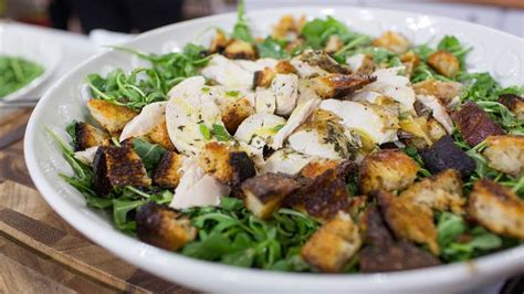 roast chicken with bread arugula salad from make it ahead by ina roast chicken over bread and arugula salad today com