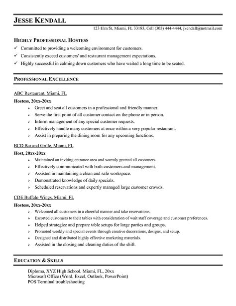 Duties Resume by Hostess Description Resume Sle Sanitizeuv