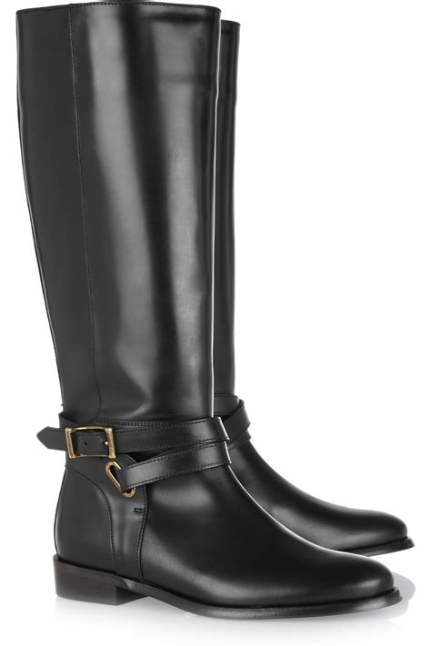 black riding lyst burberry leather riding boots in black