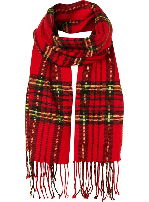 topman tartan scarf in for multi lyst
