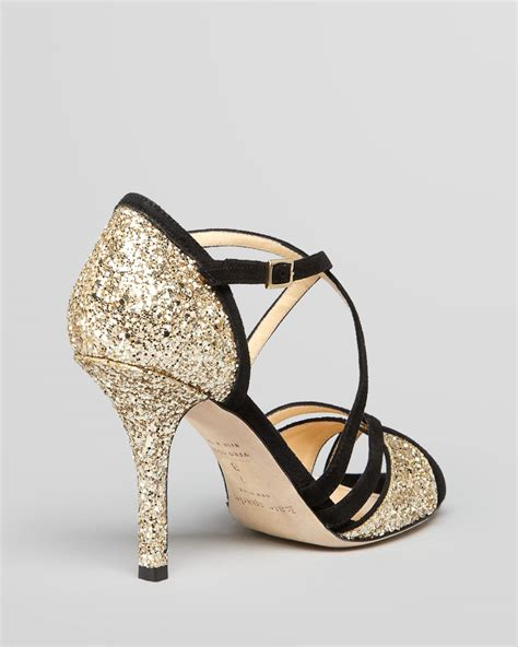 kate spade high heels lyst kate spade new york evening sandals inez glitter