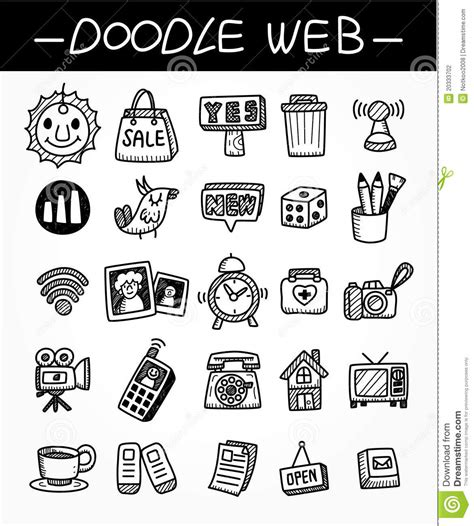 doodle bug website web doodle icon set stock photography image 20333702