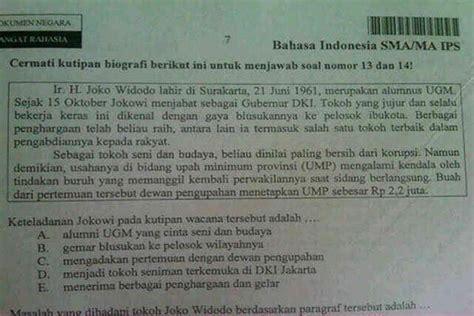 biodata jokowi bahasa indonesia satu harapan sosok jokowi masuk soal un sma