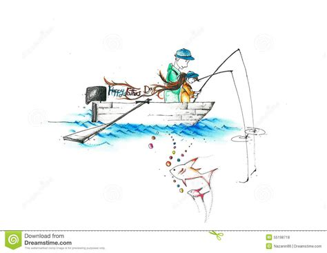 boat child drawing a father and a child fishing on a boat writing happy