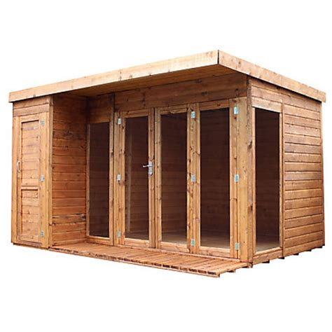 wooden rooms garden mercia premium wooden garden room with side shed 11ft 11in x 8ft 4in