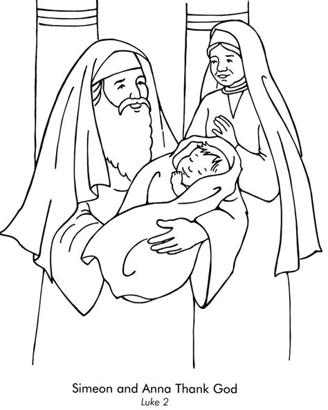 coloring pages baby jesus in the temple simeon and anna coloring page