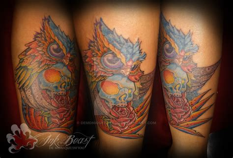 new school tattoo reddit new school owl tattoo by demoniquetattoo on deviantart