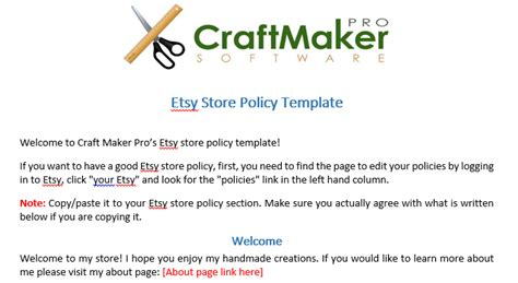 etsy policies template 6 steps to create a great etsy store policy craft maker
