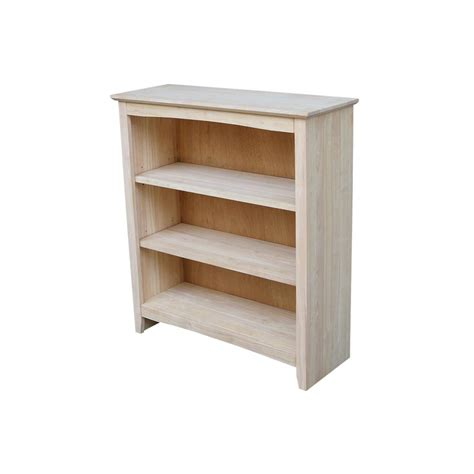unfinished solid wood bookcases international concepts sh 4830x 4 tier x sided bookcase