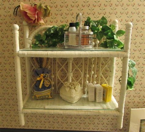 bathroom trinkets lot detail bathroom d 201 cor wicker wall shelf soaps
