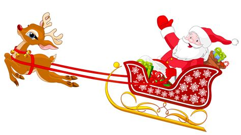 santa in sleigh with reindeer clipart clipartxtras