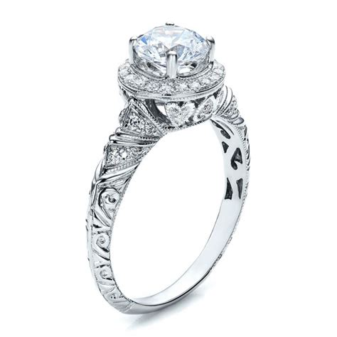 halo engraved engagement ring vanna k 100103
