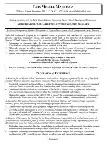 Sample Resume Objectives For Athletic Director athletics director resume example