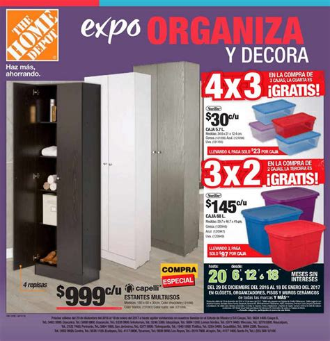 folleto home depot expo organiza y decora 3x2 y 4x3 en