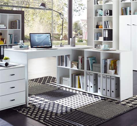 Bureau D Angle Contemporain Avec Rangement Coloris Blanc Bureau D Angle Blanc Laqué