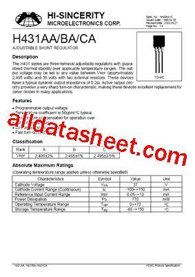 transistor w431 datasheet h431 datasheet pdf hi sincerity mocroelectronics