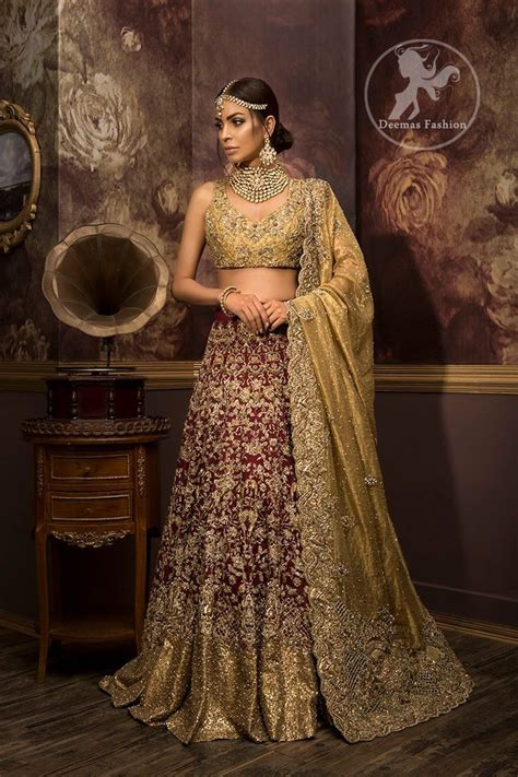 Dusty 3 Maroon by Designer Wear Bridal Collection 2017 Dusty Gold Maroon