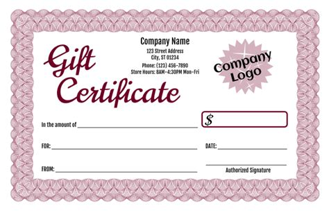 Formal Gift Certificate Templates 3 And 4 Gift Certificate Template With Logo
