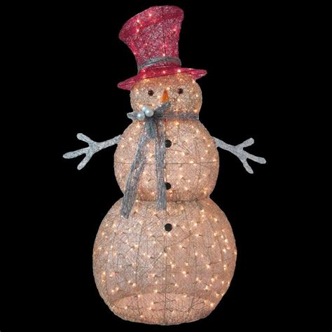 Lighted Outdoor Snowman Home Accents 5 Ft Pre Lit Gold Snowman Ty364 1411