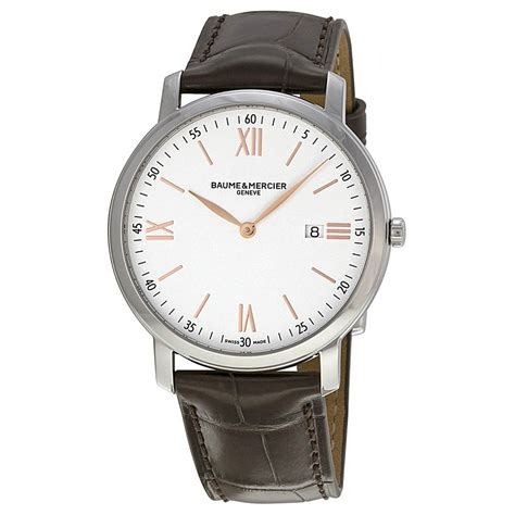 baume and mercier classima silver brown leather s