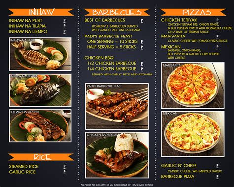 food menu standard menu food menu padi s point