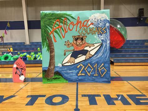 hawaiian themed pep rally  gym decorations pep