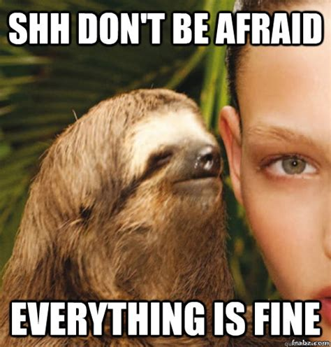 Afraid Meme - shh don t be afraid everything is fine rape sloth quickmeme