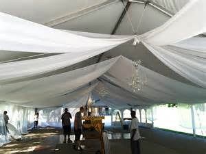 How To Drape A Tent Ceiling Wedding Tent With Chandeliers And Sheer Draping In Illinois