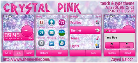 themes reflex nokia c2 02 crystal pink theme for nokia asha 303 300 x3 02 c2 06
