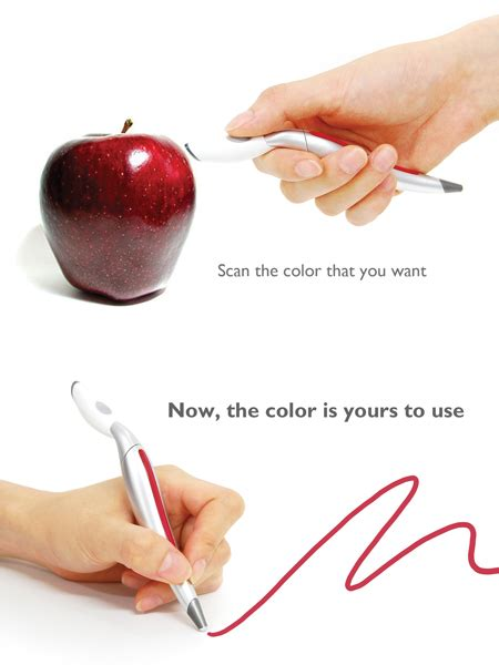 pen that scans color color sensing pen reproduces any color that it detects