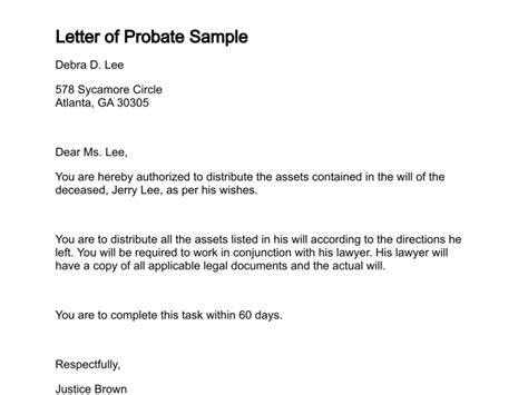 probate valuation letter template exle grant of rights search results calendar 2015