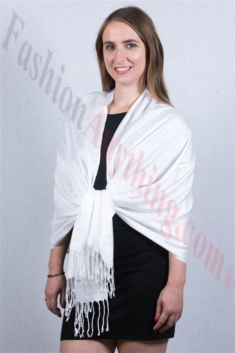 Silky Pashmina 1 silky soft solid pashmina scarf white