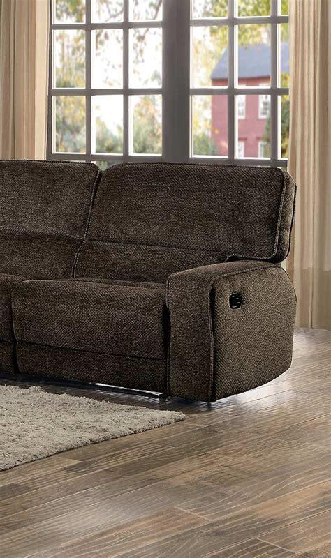 Upholstery Shreveport by Homelegance Shreveport Reclining Sectional Set Brown