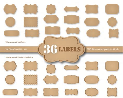 Label Paper - 36 kraft paper labels digital cardboard clip kraft