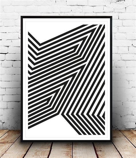 black and white abstract print modern poster