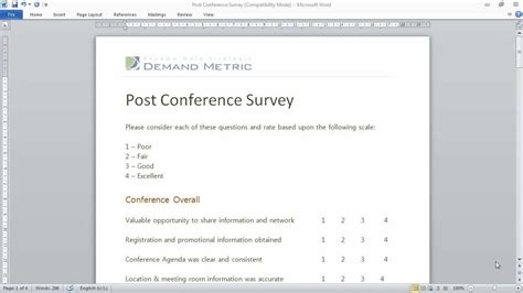 event survey template word post conference survey template