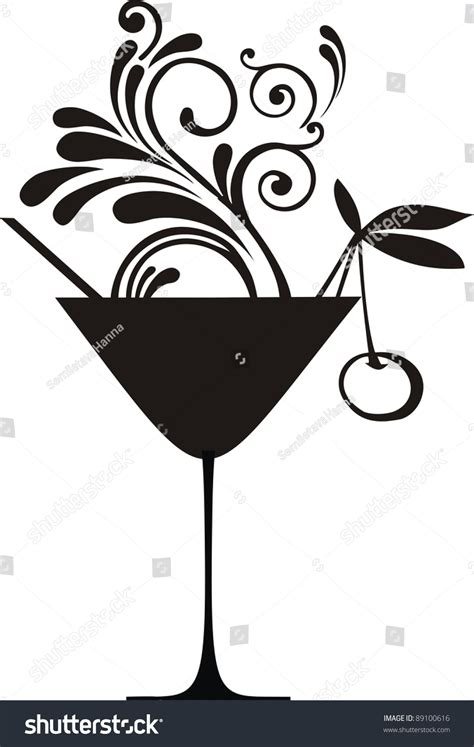 cocktail silhouette silhouette cocktail splash cherry isolated on stock