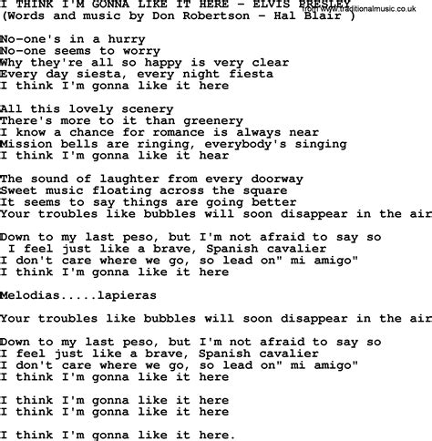 like lyrics elvis song forum