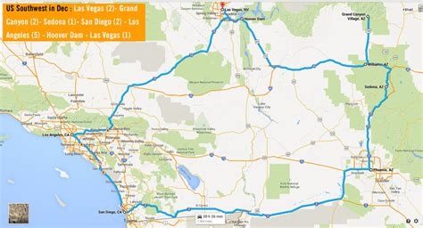 grand los angeles map us southwest in december 13 day tour vegas grand