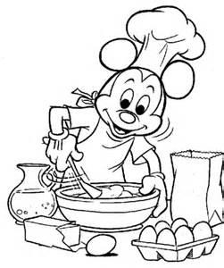 ausmalbild micky versucht zu kochen