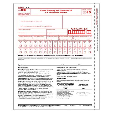 complyright 1096 transmittal tax forms 8 12 x 11 pack of