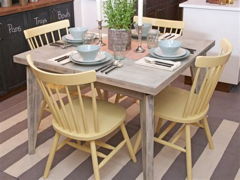Wood Kitchen Table And Chairs Pale Yellow Painted Wooden Kitchen Chairs And Distressed Dining Table With Striped Area Rug