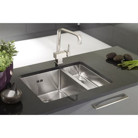 Sink And Half stainless steel square undermount one and a half sink with rhd