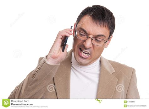 Screaming Phone angry business screaming on mobile phone stock photo