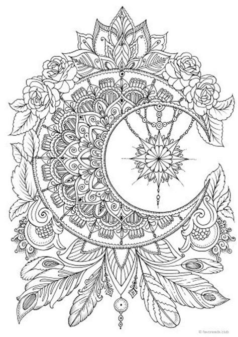 Moon - Printable Adult Coloring Page from Favoreads