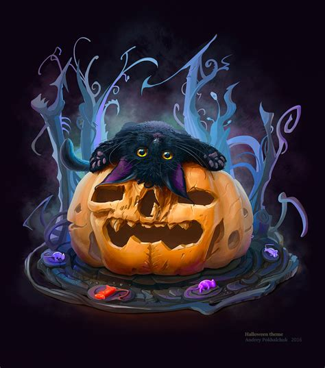 halloween themed art halloween theme cat 2 26 10 2016 by an9reyart on deviantart